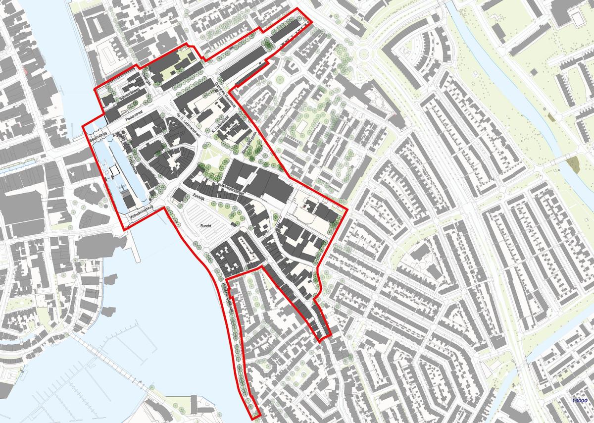 op de foto het gebied Centrum Oost van Prins Hendrikkade tot en met de Peperstraat