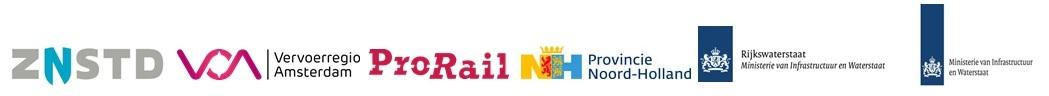 Afbeelding met logo's van partners: gemeente Zaanstad, Vervoerregio Amsterdam, ProRail, Provincie Noord-Holland, Rijkswaterstaat en het Ministerie van Infrastructuur en Waterstaat