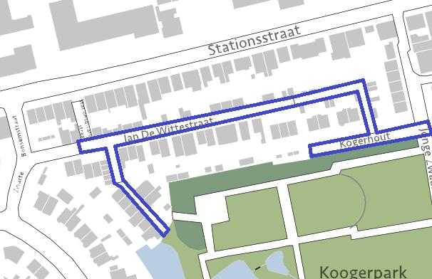 Afbeelding van het projectgebied Jan de Wittestraat en Kogerhout.
