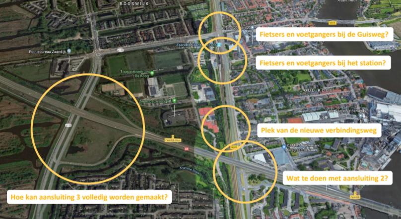 Plattegrond van de omgeving bij de Guisweg met daarop de verschillende onderdelen, ook wel bouwstenen van het project.